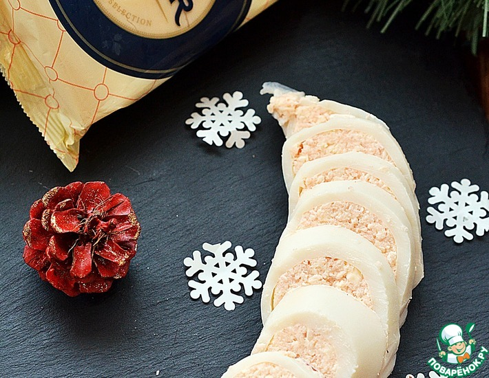 Рецепт: Кальмар, фаршированный сырно-креветочным муссом
