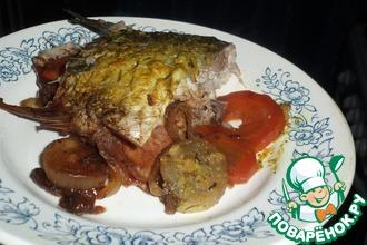 Рецепт: Рыба в фольге на овощной подушке
