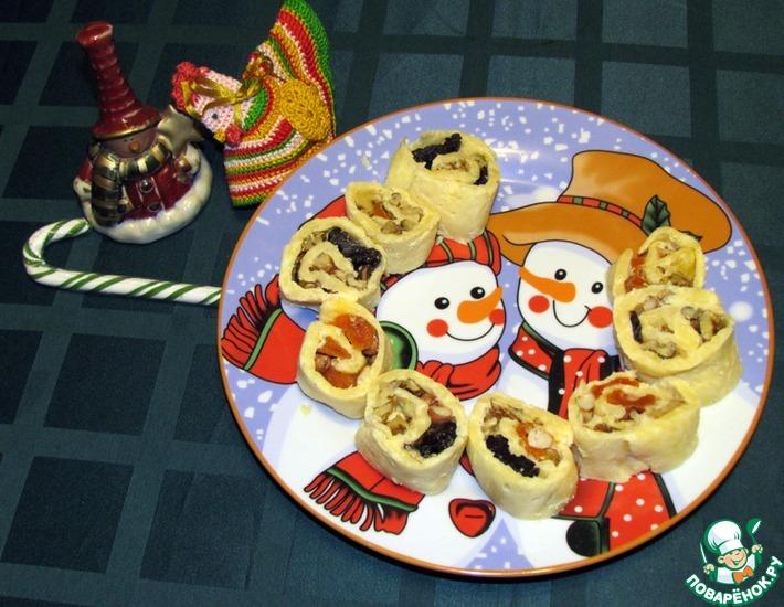 Рецепт: Сырный рулет Новогодний фейерверк