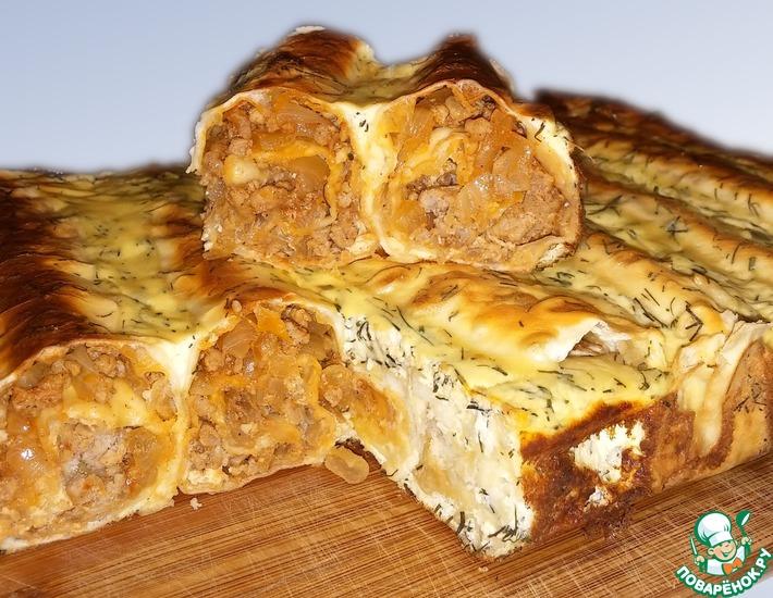 Рецепт: Быстрый мясной пирог из лаваша