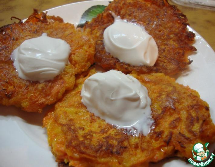 Рецепт: Морковно-яблочные оладьи