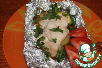 Рецепт: Курица с овощами в фольге