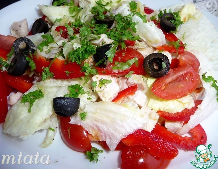 Рецепт: Салат с индейкой и помидорами