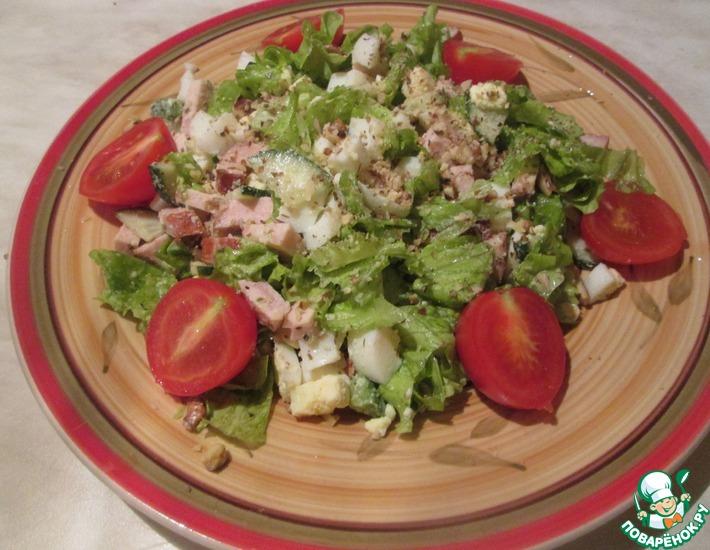 Рецепт: Салат с авокадо, яйцами и ветчиной