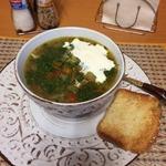 Куриный суп с булгуром и грибами