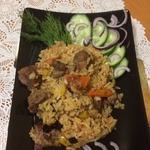 Тушёная баранина с овощами и рисом