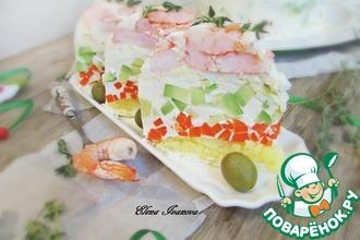 Рецепт: Заливной салат с креветками и авокадо