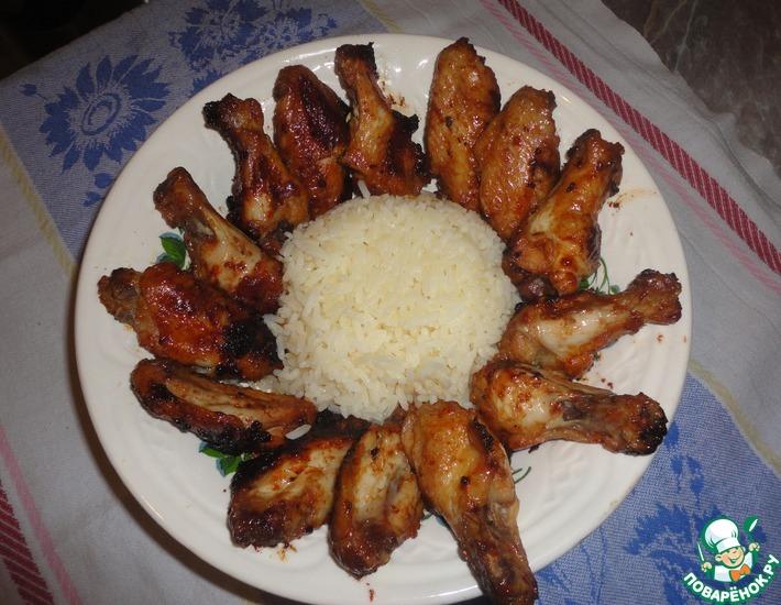 Рецепт: Запеченые крылышки с рисом