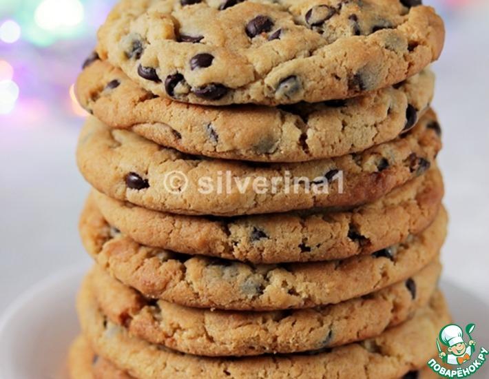 Рецепт: Печенье с арахисовой пастой и шоколадом