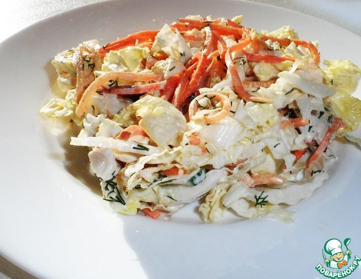 Рецепт: Овощной салат с куриным филе