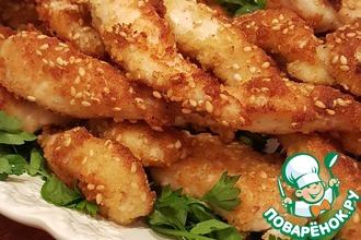 Рецепт: Куриное филе в обжаренном кунжуте