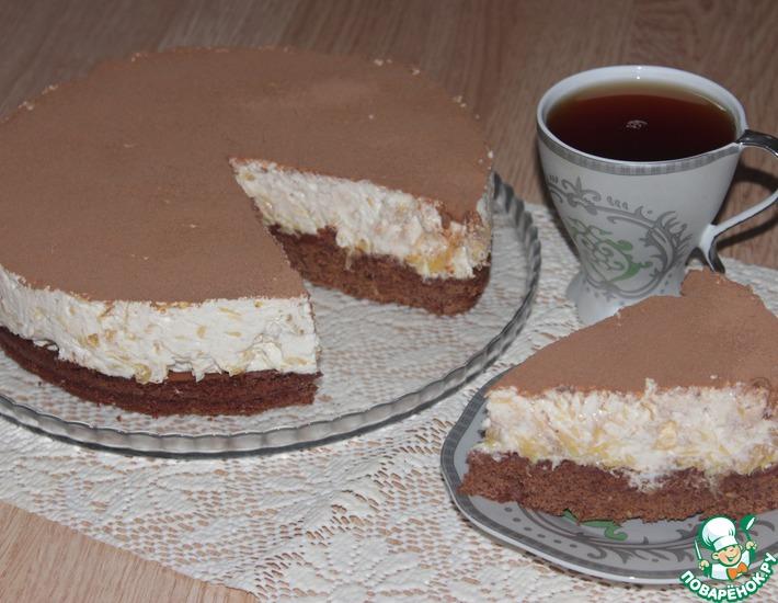 Рецепт: Торт с творожно-апельсиновым кремом