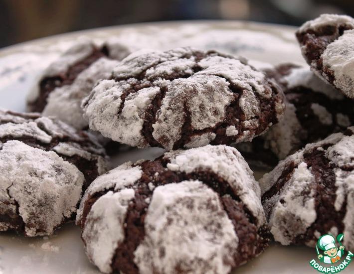 Рецепт: Шоколадное печенье Трещинки