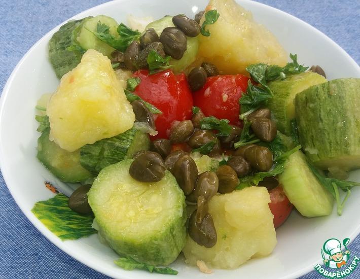 Рецепт: Теплый салат с вареными кабачками