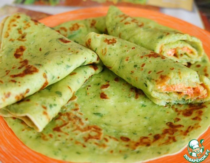 Рецепт: Сырные блины со шпинатом