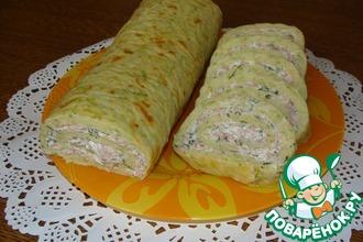 Рецепт: Кабачковый рулет с сыром и ветчиной