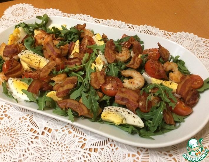 Рецепт: Салат с рукколой, креветками и беконом