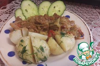 Рецепт: Капуста тушеная с говядиной и картофелем