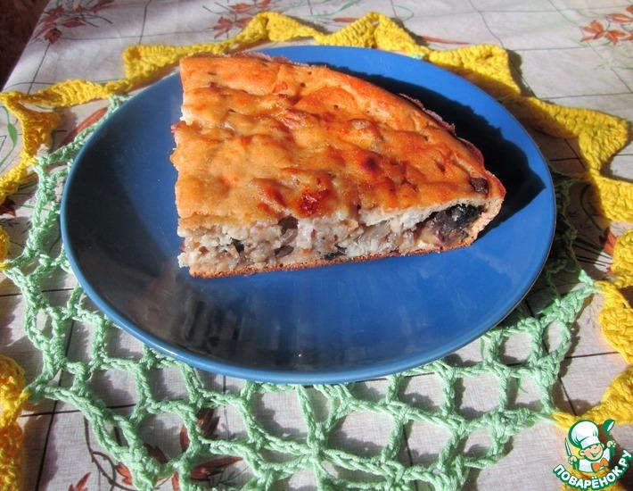 Рецепт: Заливной пирог с рыбой и грибами