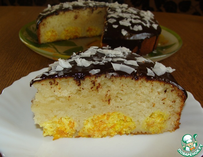Рецепт: Пирог с творожно-морковными шариками