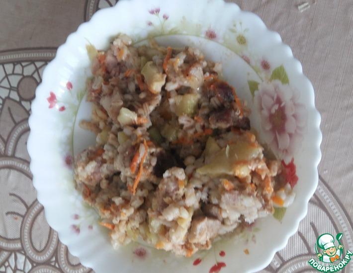 Рецепт: Перловка со свининой и кабачками