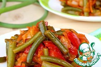 Рецепт: Чесночные стрелки с овощами на зиму