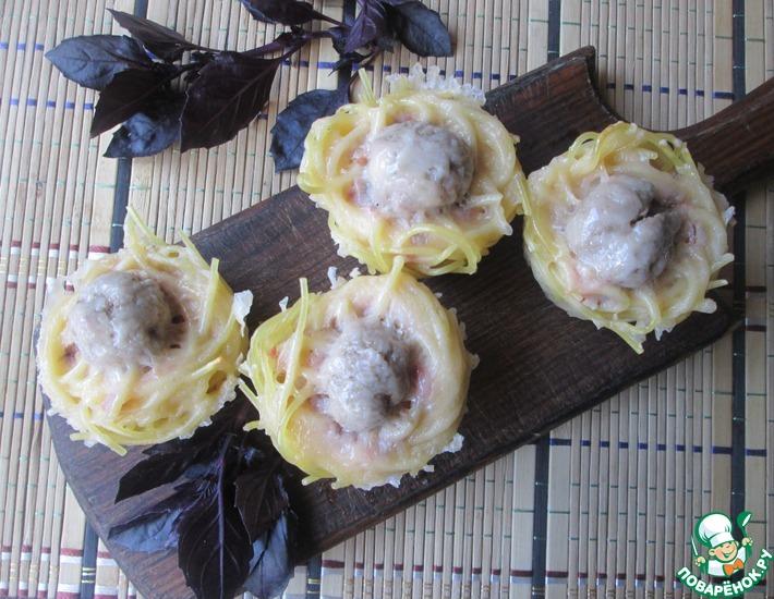 Рецепт: Маффины из спагетти и фрикаделек
