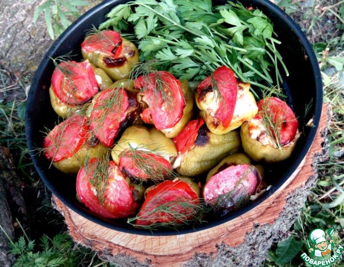 Рецепт: Перец, запеченный с мясом и овощами