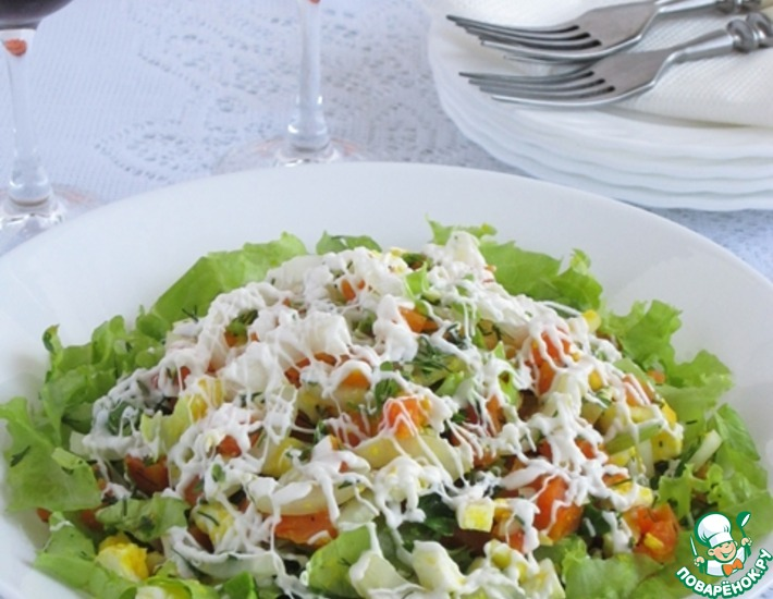 Рецепт: Салат из яиц, моркови и лука