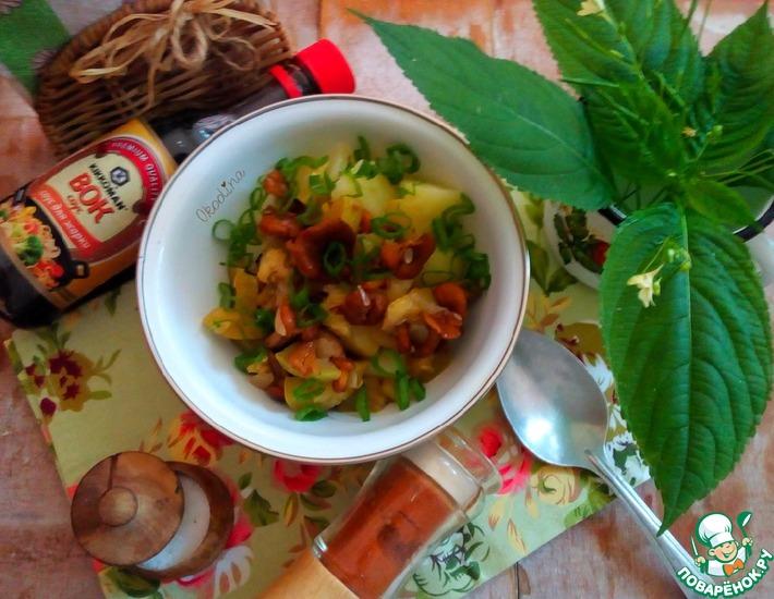 Рецепт: Кабачок с лисичками в соевом соусе