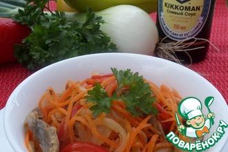 Рецепт: Острый овощной салат с куриными желудками