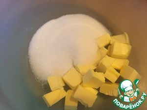Melted butter whisk with sugar until fluffy consistency.