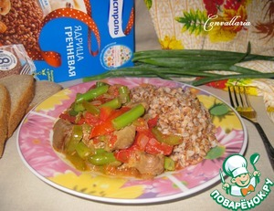Chicken liver with green beans and dishes to serve with crumbly buckwheat.