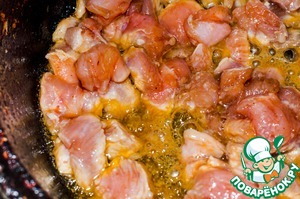 2. After 15 minutes, take out the meat and put in a pre-heated frying pan. Fry in vegetable oil with the addition of melted butter for 15 minutes on low heat.  A little salt to taste+ added a Bay leaf.