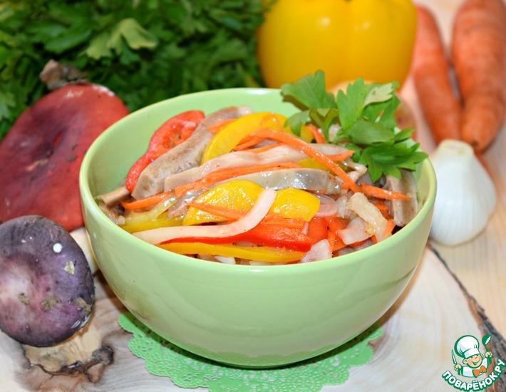 Рецепт: Салат из сыроежек Почти по-корейски