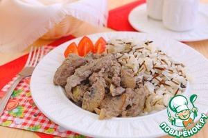 Liver garnish with boiled rice, buckwheat, pearl barley or pea porridge, mashed potatoes, French fries   Bon appetit!