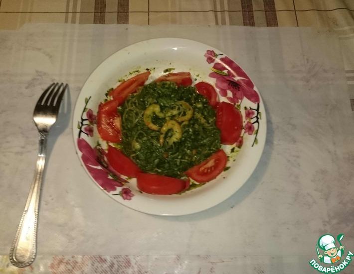 Фунчоза со шпинатом рецепт