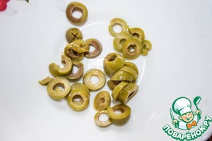 Olives cut into rings. Who likes olives, can safely take more.