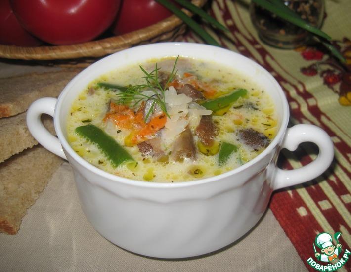 Рецепт: Рисовый суп с грибами и фасолью