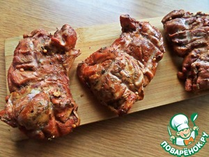 """For the meat Supplement, take smoked chicken """"gyros"""" without the bones, we sell in vacuum-Packed with aromatic spices."""