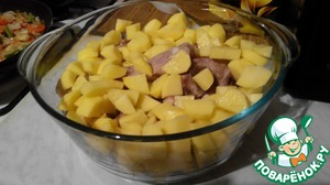 The bones put in a large pot, spread on top of potatoes.