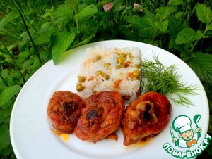 Serve a plate of rice and roasted chicken legs. Serve with a salad of fresh vegetables.   Bon appetit!
