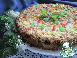 Bake the pie in the oven for 35-40 minutes at 180 degrees.  Leave the cake in the shape until cool. Then carefully take out and decorate as desired! I decorated with colored candied fruit and mint leaves!