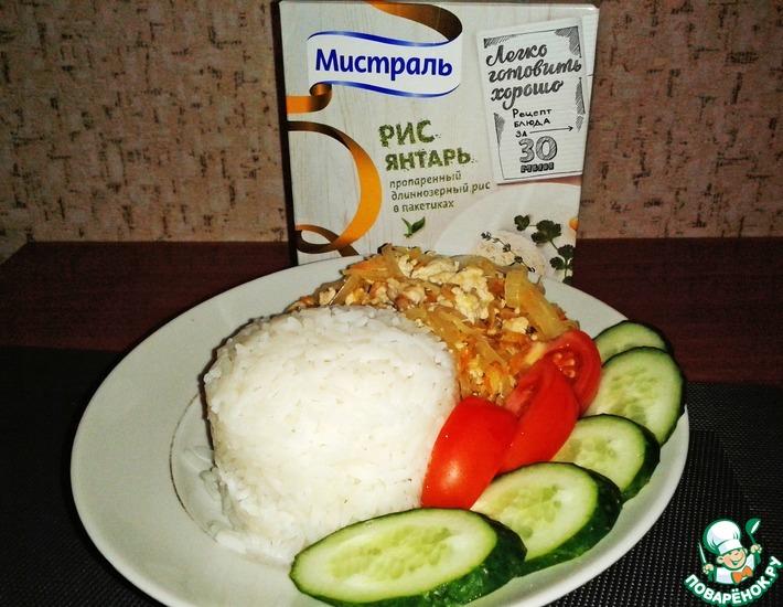 Рецепт: Рис с квашеной капустой и фаршем