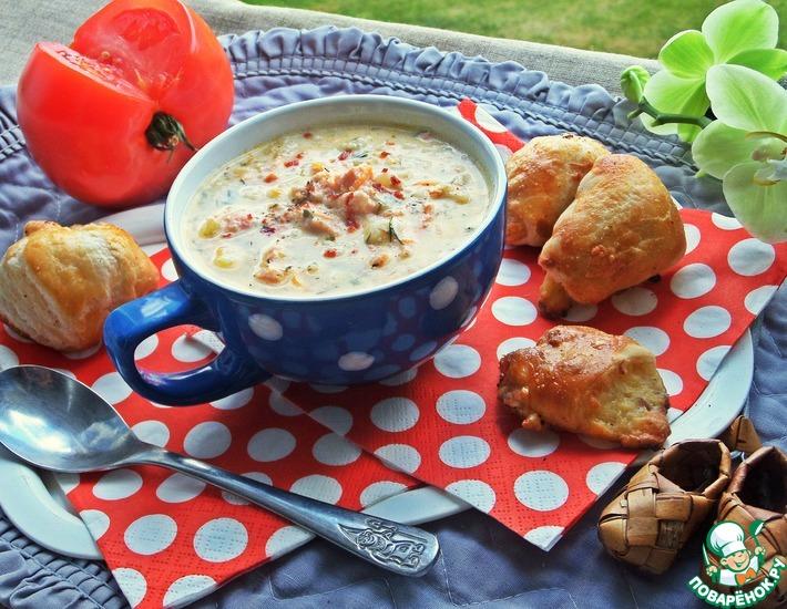 Рецепт: Сырный суп с рисом и лососем