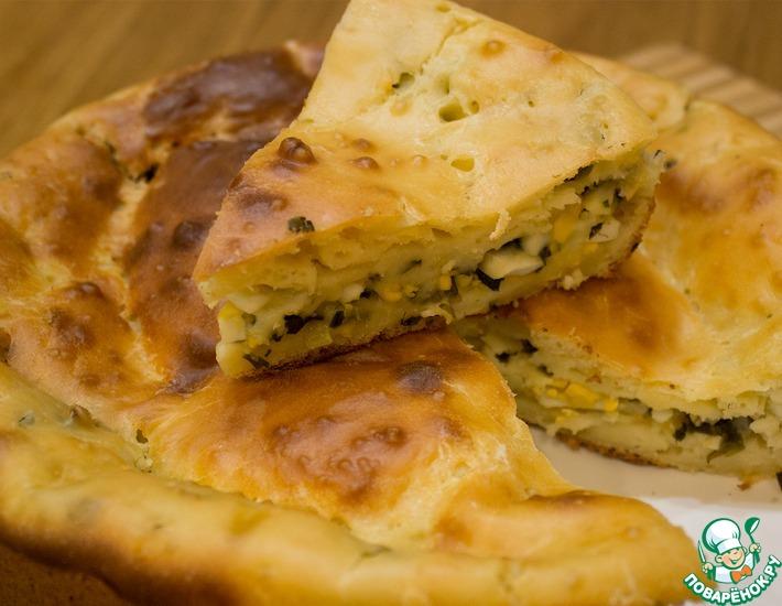 Рецепт: Заливной пирог с луком и яйцом