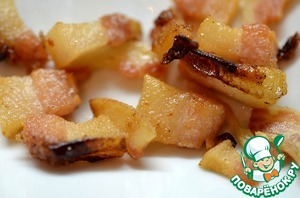Bacon cut dice. Fry bacon until crisp.