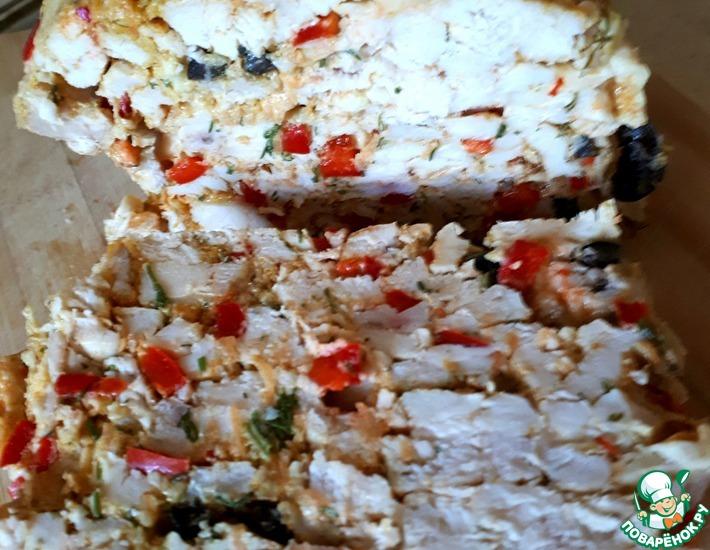Рецепт: Куриный а-ля холодец с сыром и овощами