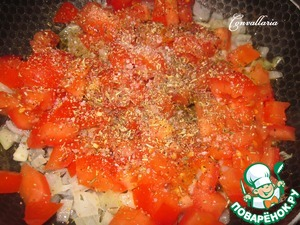 Add diced tomato, thyme, rosemary, season with salt, pepper, sugar. Cover and simmer over low heat until the tomatoes are soft (5-7 minutes).