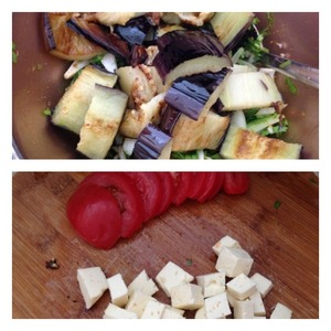 To the greens add the eggplant, sliced into strips. Stir and taste for salt and seasoning. Add as needed.  Tomato cut into slices, the cheese in small cubes. The original used Imeretian cheese, but you can substitute soft cheese with a neutral taste, such as mozzarella or unsalted cheese, or feta.